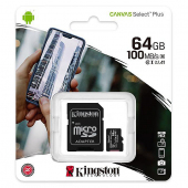 Memory Card MicroSDXC Kingston Canvas Select Plus Android A1, with adapter, 64Gb, Clasa 10 - UHS-1 U1, SDCS2/64GB (EU Blister)