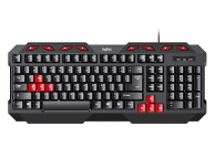 Inphic V610 Wired Keyboard (Black and Red)