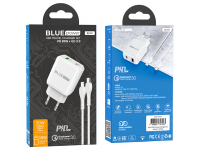BLUE Power Wall Charger BCN5, PD20W+QC3.0 with Type C Cable White (EU Blister)