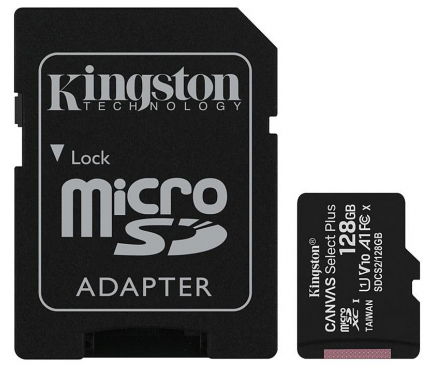 Memory Card MicroSDXC Kingston Canvas Select Plus Android A1, with adapter, 128Gb, Clasa 10 - UHS-1 U1, SDCS2/128GB (EU Blister)